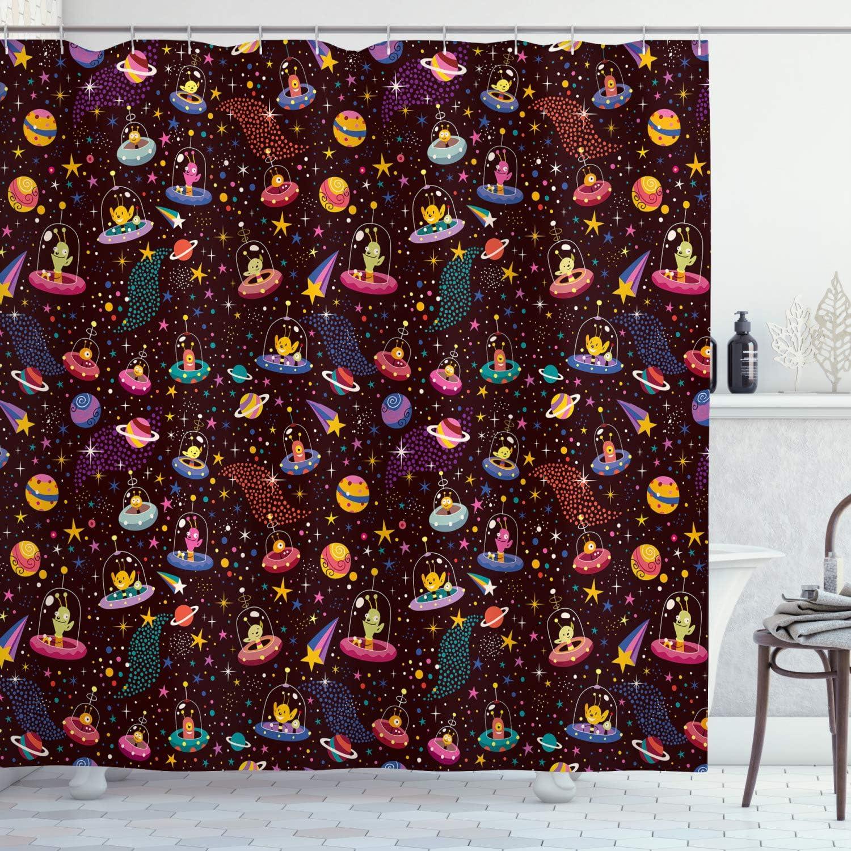 Multicolor ABAKUHAUS Espacio Cortina de Ba/ño Material Resistente al Agua Durable Estampa Digital 175 x 200 cm Los Planetas alien/ígenas y ovnis