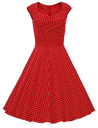 2733a6802f6 DRESSTELLS Women 1950s Retro Rockabilly Dress Vintage Audrey Swing Dress  Red Dot L at Amazon Women s Clothing store