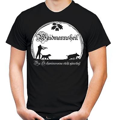Waidmannsheil T-Shirt | Jagd | Jäger | Wildschwein | Wild | Förster | Männer  | Herren | Revier | Keiler | Hirsch | Fun: Amazon.de: Bekleidung