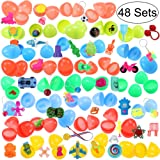 iBaseToy 48 Easter Eggs Filled with 48 Different Toys - Toys Include Cars, Airplanes, Animal Figures, Yo-Yos, Balls and More - 48 Pack