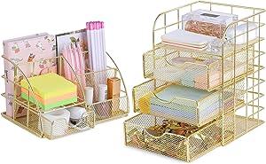 POPRUN Desk Organizer Pen Holder Office Supplies,Cute Mesh Office Supplies Accessories Essentials Caddy with Drawers for Home & Office Desktop Organization & Decor, Gold - Set of 2