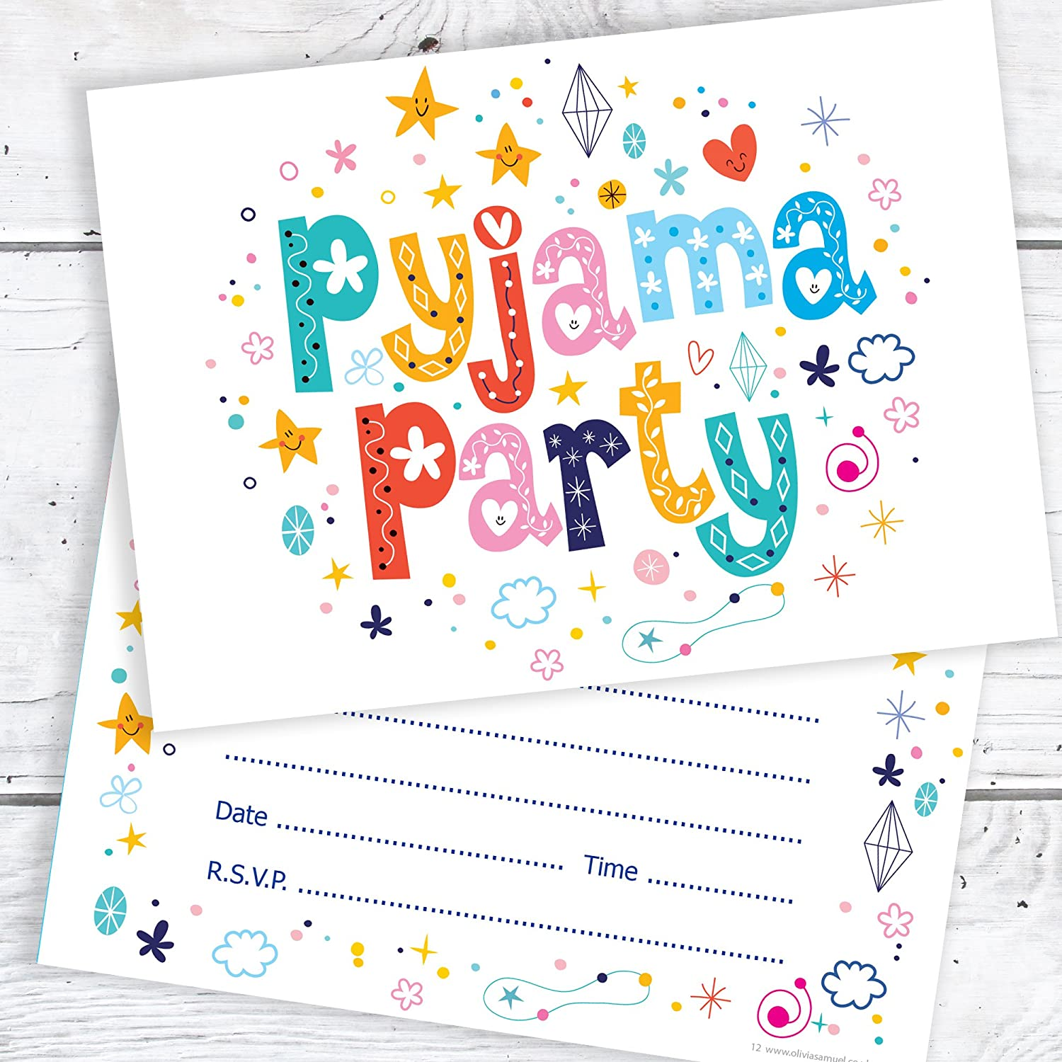 Pack of 10 A6 Postcard Size with envelopes Olivia Samuel Childrens Birthday Party Invitations Kids Ready to Write Party Invites
