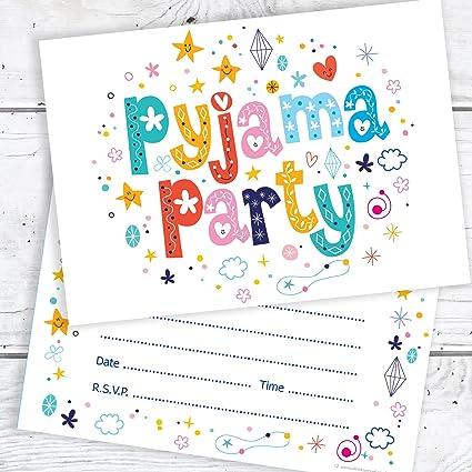 7d1633ee44 Personalizado Chicas Fiesta De Pijamas Fiesta Invitaciones Con Sobres X 5