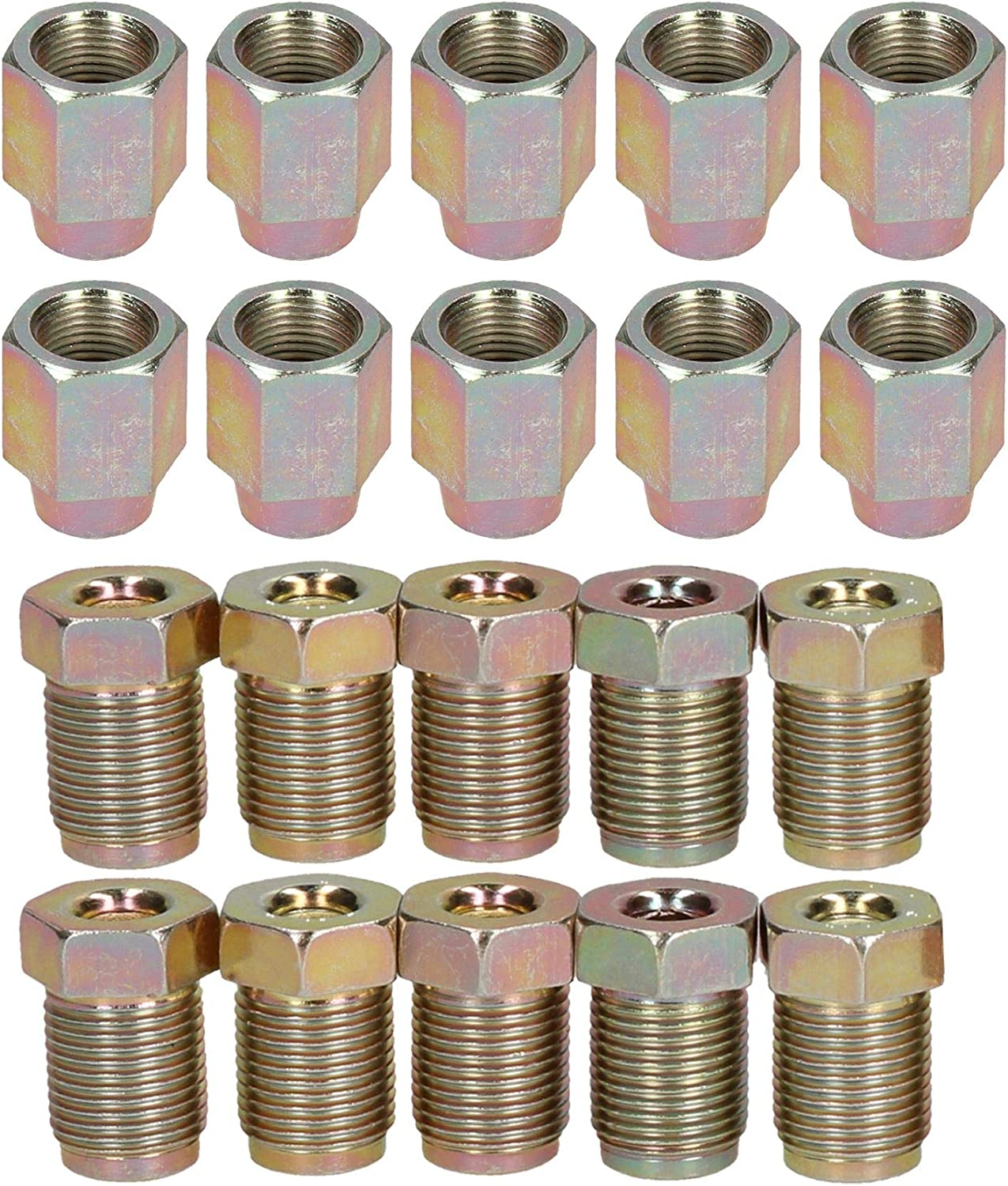 "AB Tools-Bond 7//16/"" x 20 UNF Male and Female Steel Brake Pipe Fittings for 3//16/"" Pipe 20 Pack"
