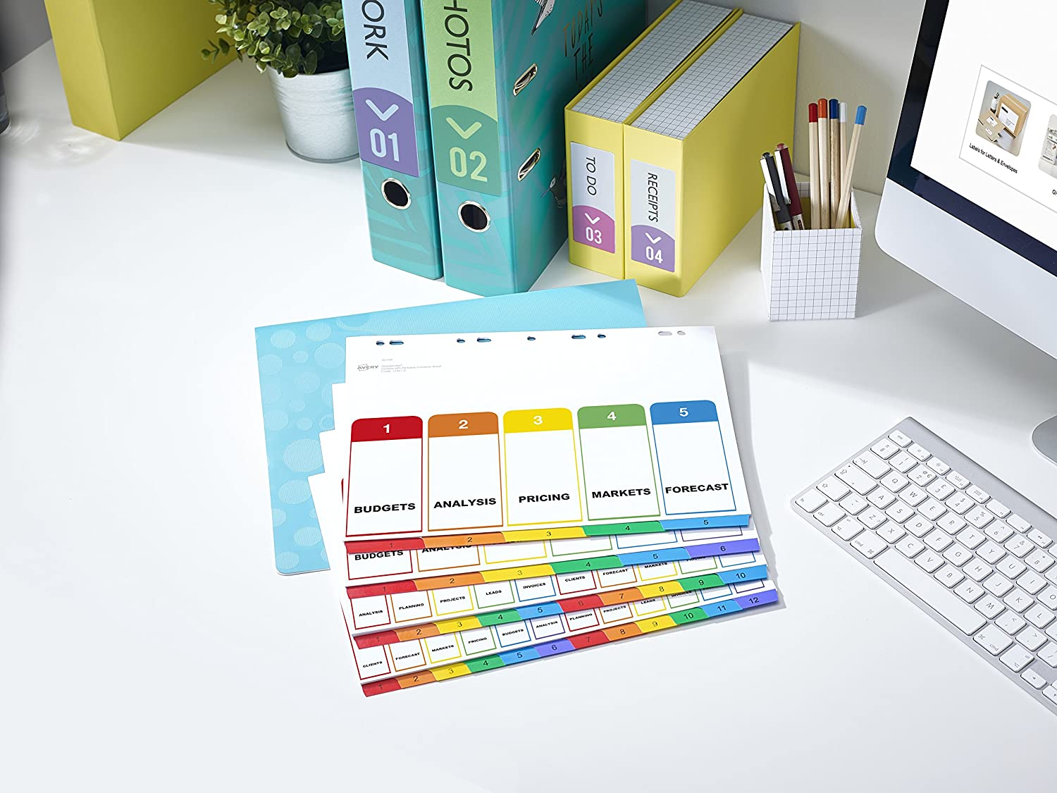 Multicoloured ReadyIndex Extra Wide Pre-Printed Avery 05065501 A4 1-10 Numeric
