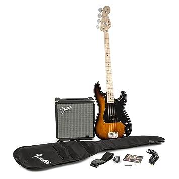 amazon com squier by fender p bass guitar pack sunburst musical