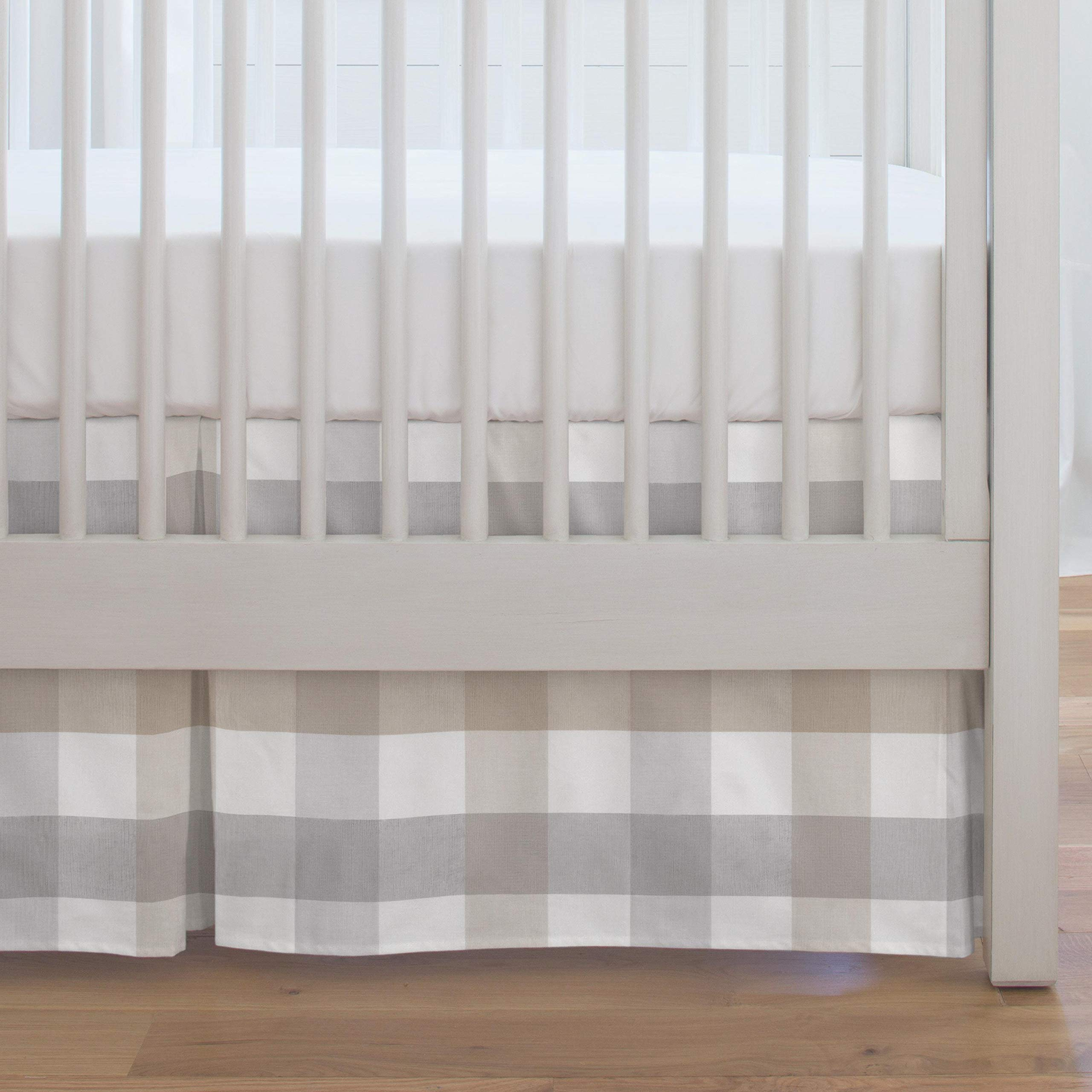 Carousel Designs Taupe and Gray Check Crib Skirt by Carousel Designs