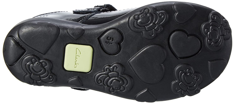 Infant Girls Clarks Ella Ruby Black Patent T-Bar Shoes