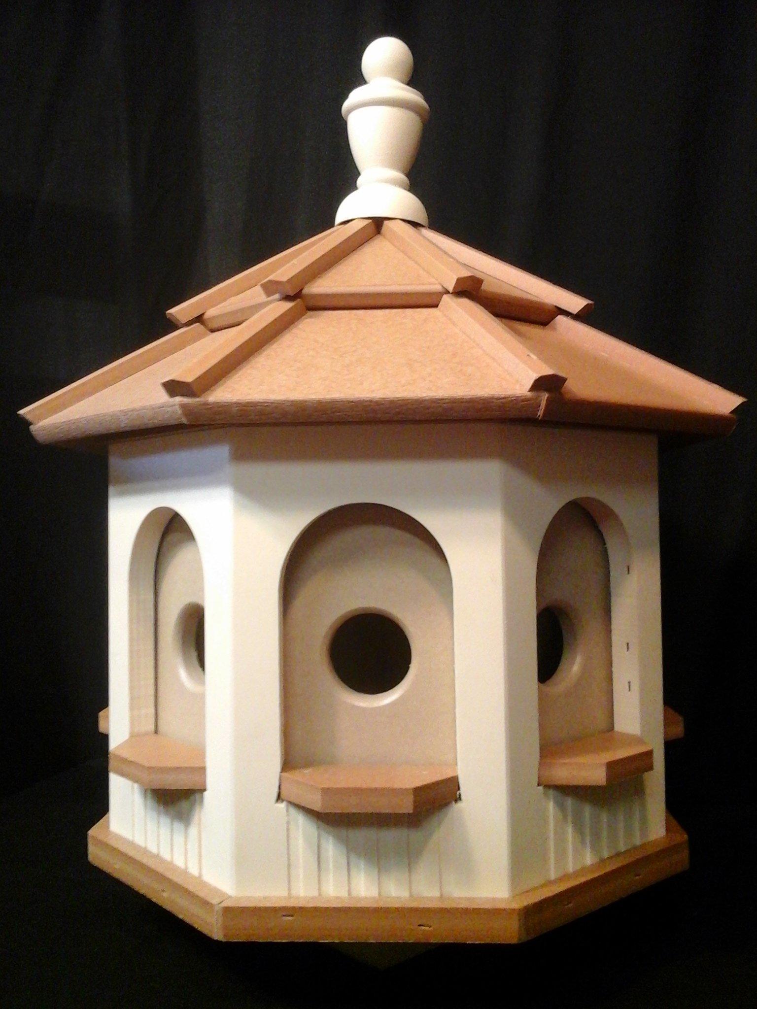 Handcrafted Poly Gazebo Birdhouse Homemade Handmade Ivory & Cedar