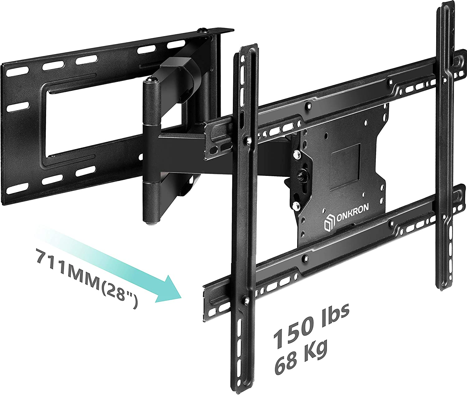 "ONKRON TV Wall Mount Bracket Full Motion Articulating Long Arm for 39"" – 60 Inch LED LCD Plasma Flat Screen TV with Tilt Swivel 150 LBS Loading Capacity M7L"