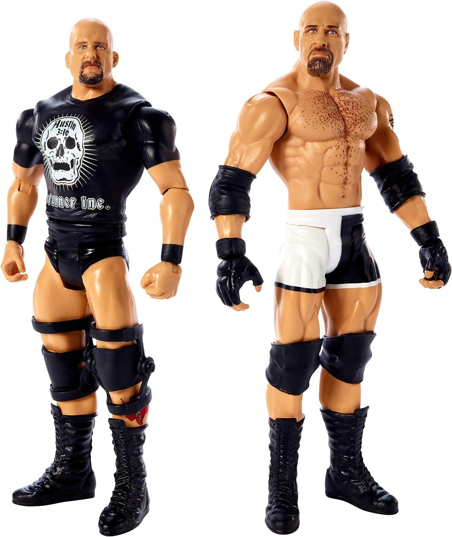 WWE - Pack de 2 figuras de acción luchadores Goldberg vs Stone con accesorios de lucha Juguetes niños +6 años (Mattel GBN62)