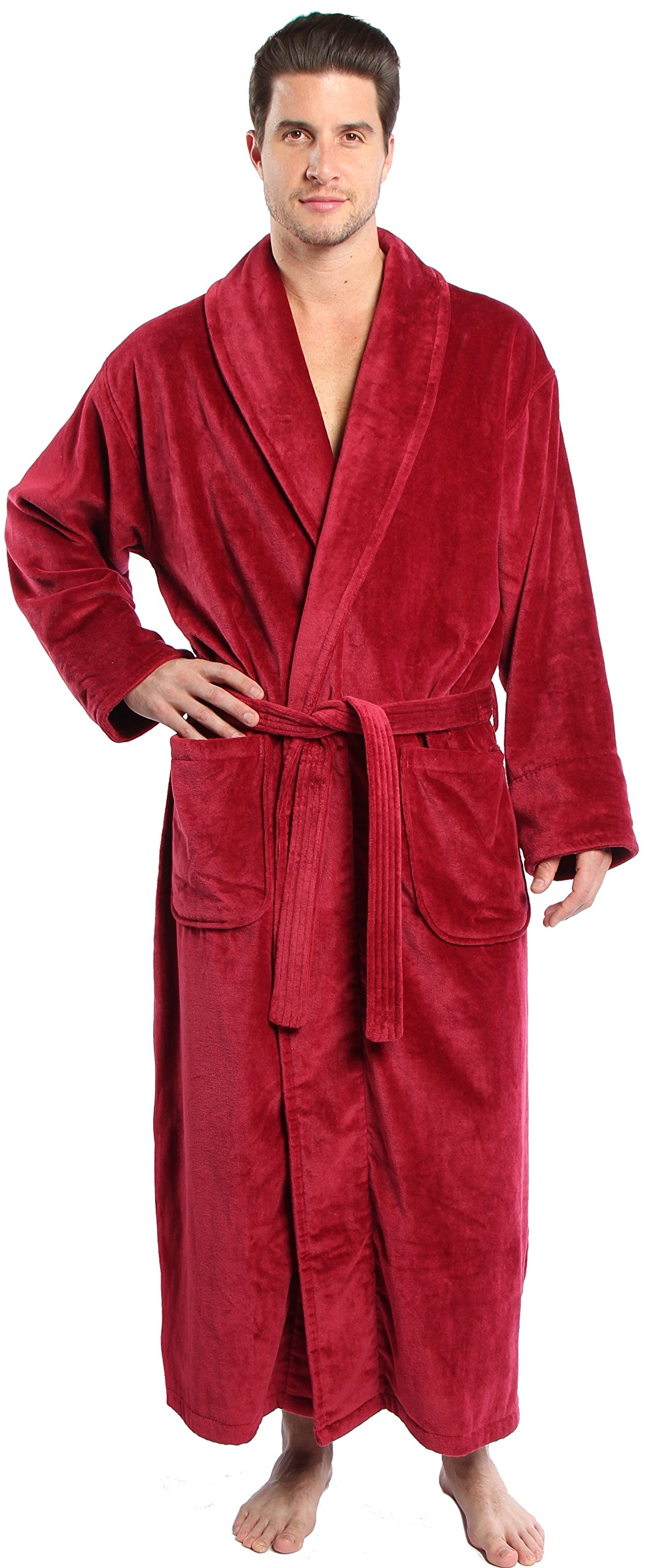 TurkishTowels Parador Big and Tall Terry Velour Bathrobe, 100% Combed Pure Cotton, Made In Turkey (XL, Burgundy)