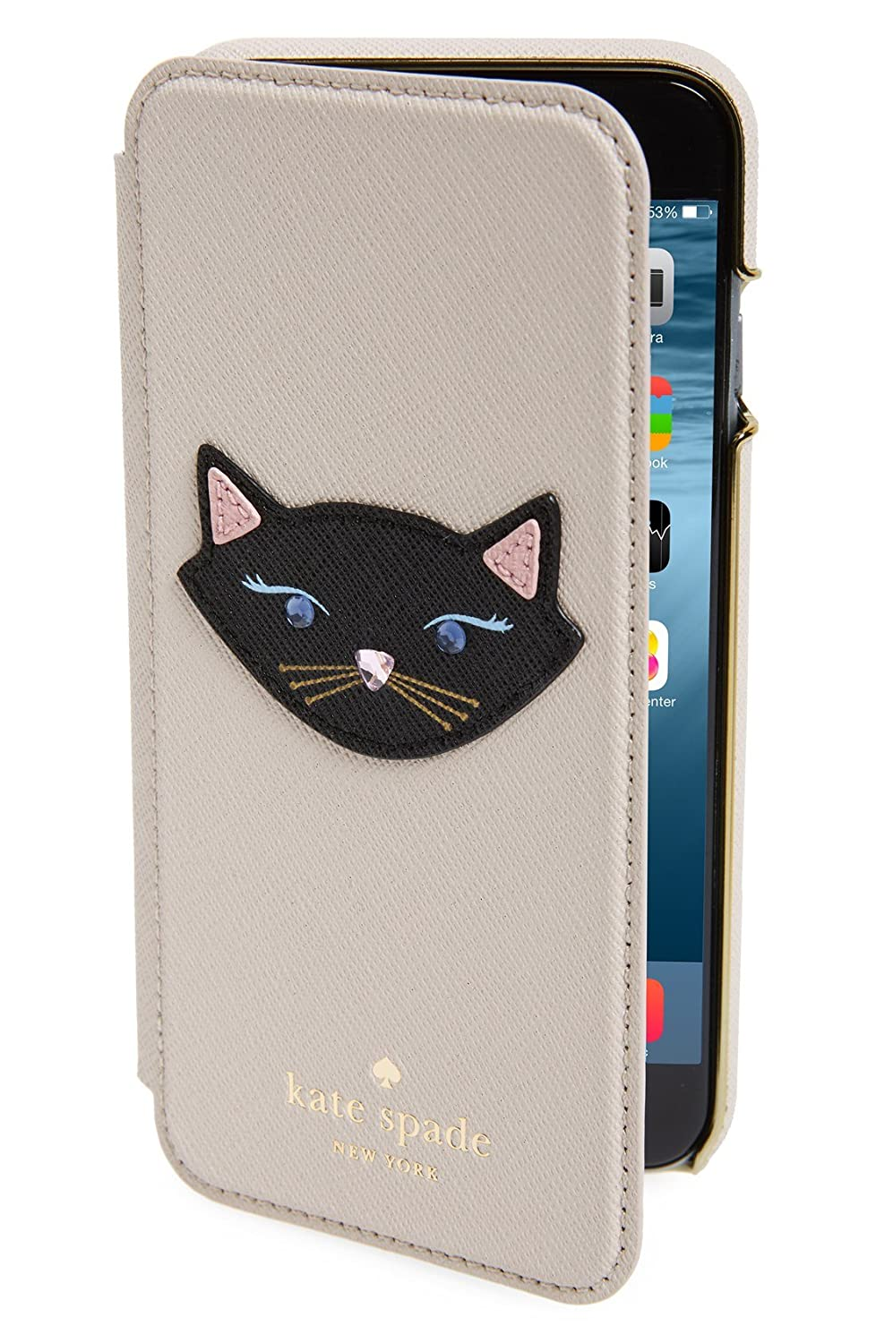the best attitude e88bc a8689 Amazon.com : Kate Spade New Yorl Leather Cat appliqué iPhone 6 & 6s ...