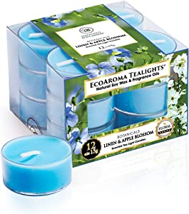 Eco Aroma Coco-Soy Candles, Fresh Linen Apple Blossom Scented Tealight Candles Pack of 12 Clear Plastic Cups for Bath and Body Works, 100% Coconut Soy Wax Perfume-Grade Essential Oils