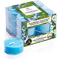 EcoAroma Fresh Linen Apple Blossom Scented Organic Coco-Soy Tealight Candles, Pack of 12 Clear Plastic Cups Non Paraffin…