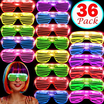 6 Colors LED Light Up Sunglasses Shades Flashing Blink Glow Glasses Party