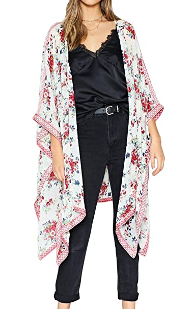 c8ea1b08ea4aa Hibluco Women's Floral Kimono Cardigan Long Blouse Sheer Shirt Loose Tops  Swimwear (Small, K