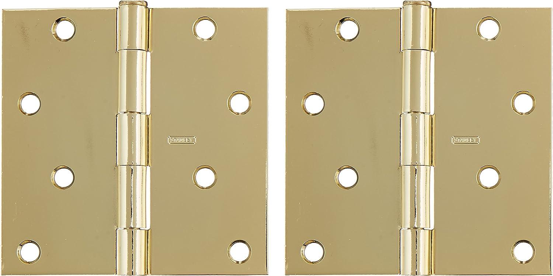 Stanley Hardware S821-280 RP741 Square Corner Residential Hinge in Bright Brass 2 Pack