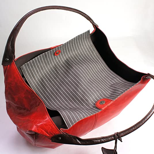 cd60fa7c5781 Amazon | [パッカパッカ] pacca pacca ハンドバッグ トートバッグ 日本製 本革 レディース 軽い 軽量 大容量 丸型 マカロン  (レッド) | トートバッグ