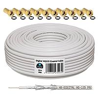 HB-DIGITAL HQ-135 PRO 50m 135dB Koaxial SAT Kabel 4-fach geschirmt Antennenkabel für DVB-S/S2 DVB-C und DVB-T/T2 BK Anlagen inkl. 10 vergoldete F-Stecker