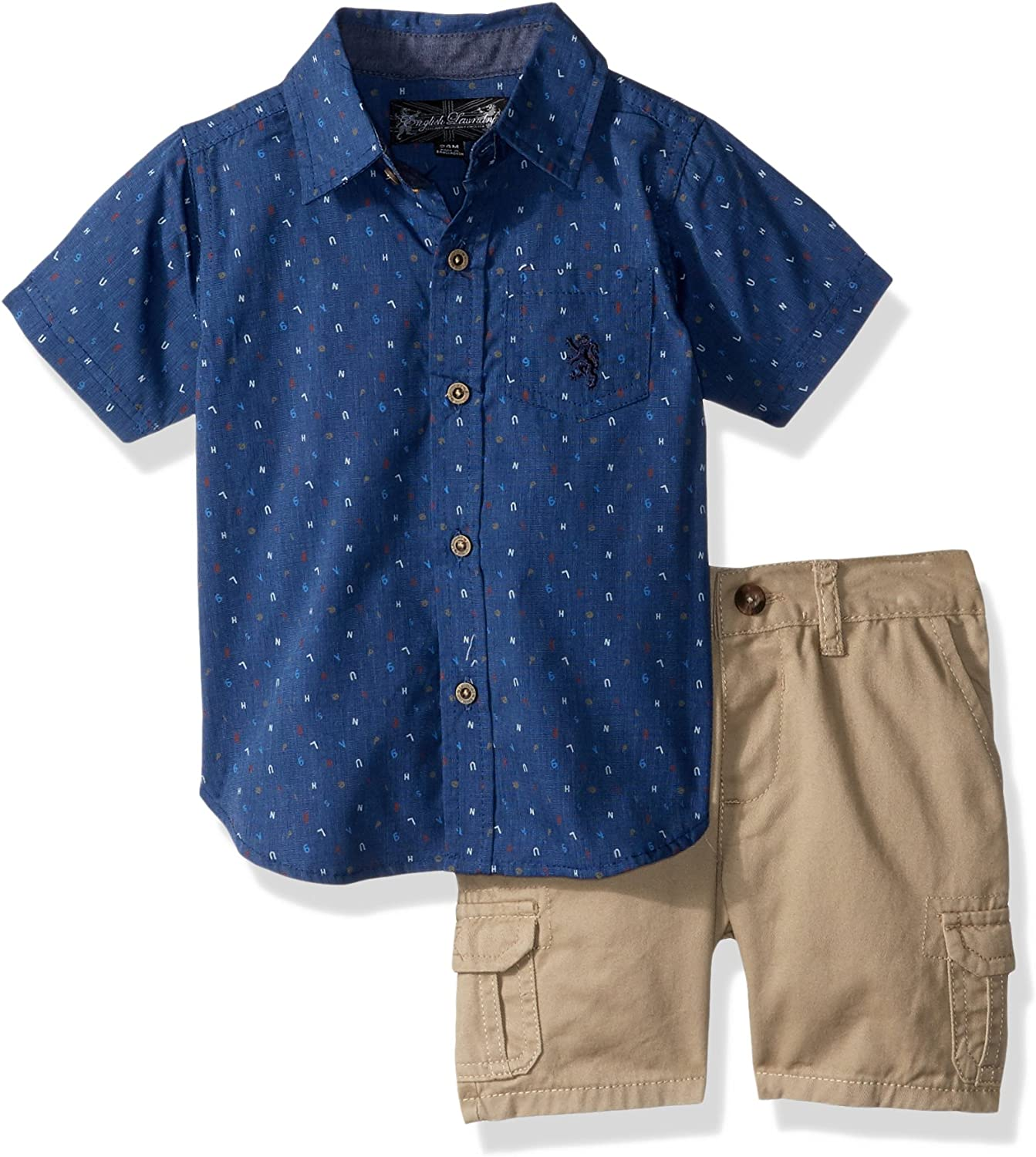 English Laundry Baby Boys Letter Print Woven Sport Shirt with Twill Cargo Short