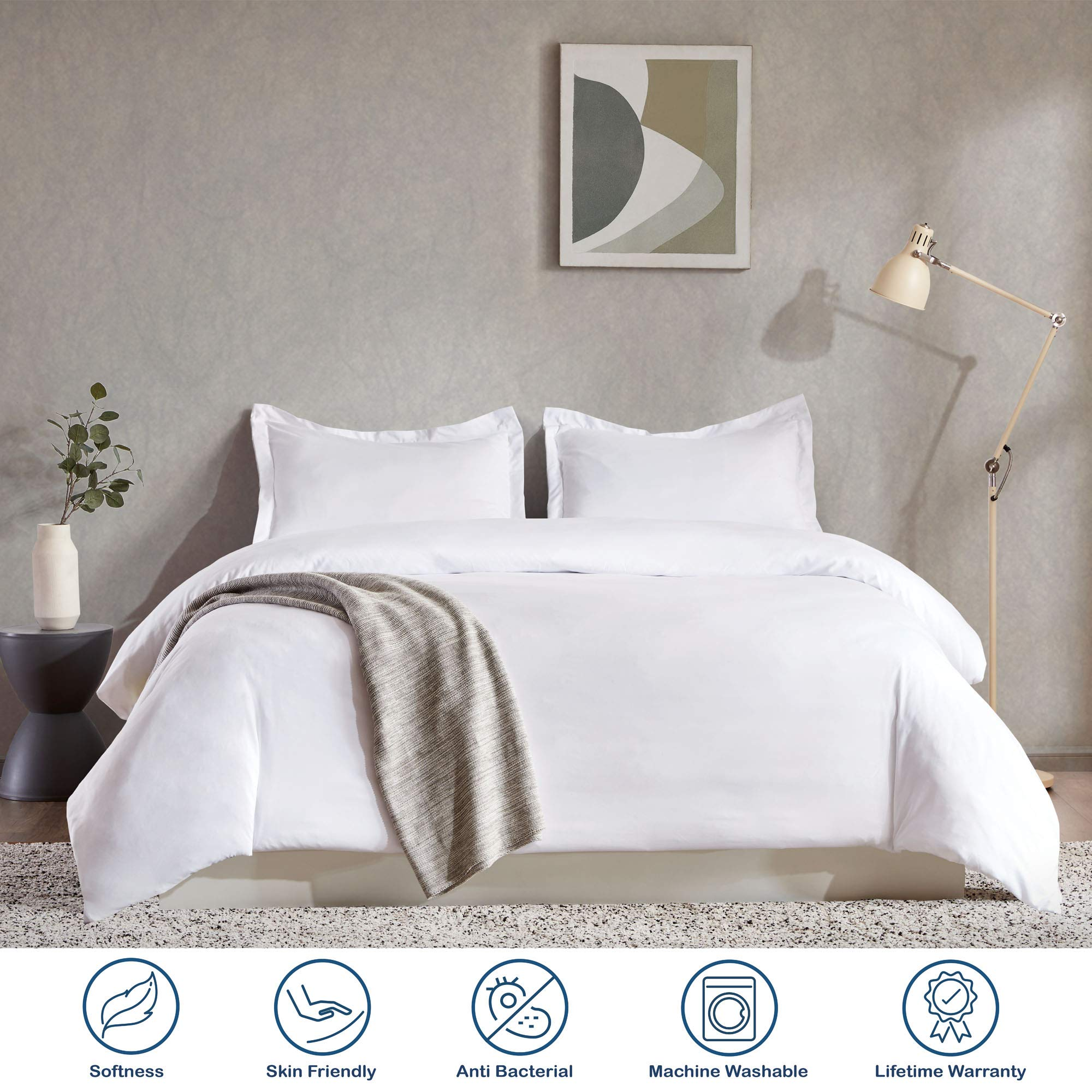 Sleep Zone Bedding Duvet Cover Cooling 120gsm Soft Zipper Closure Corner Ties 3 PC, White,Full/Queen