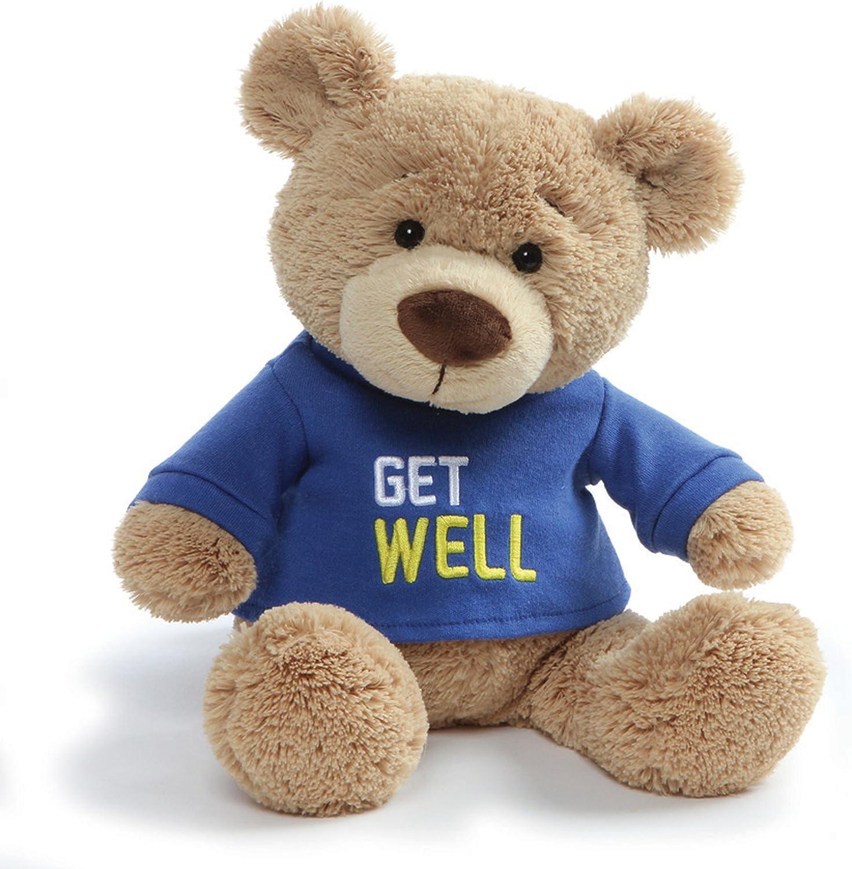 Blue 12.5 GUND Get Well T-Shirt Teddy Bear Stuffed Animal Plush