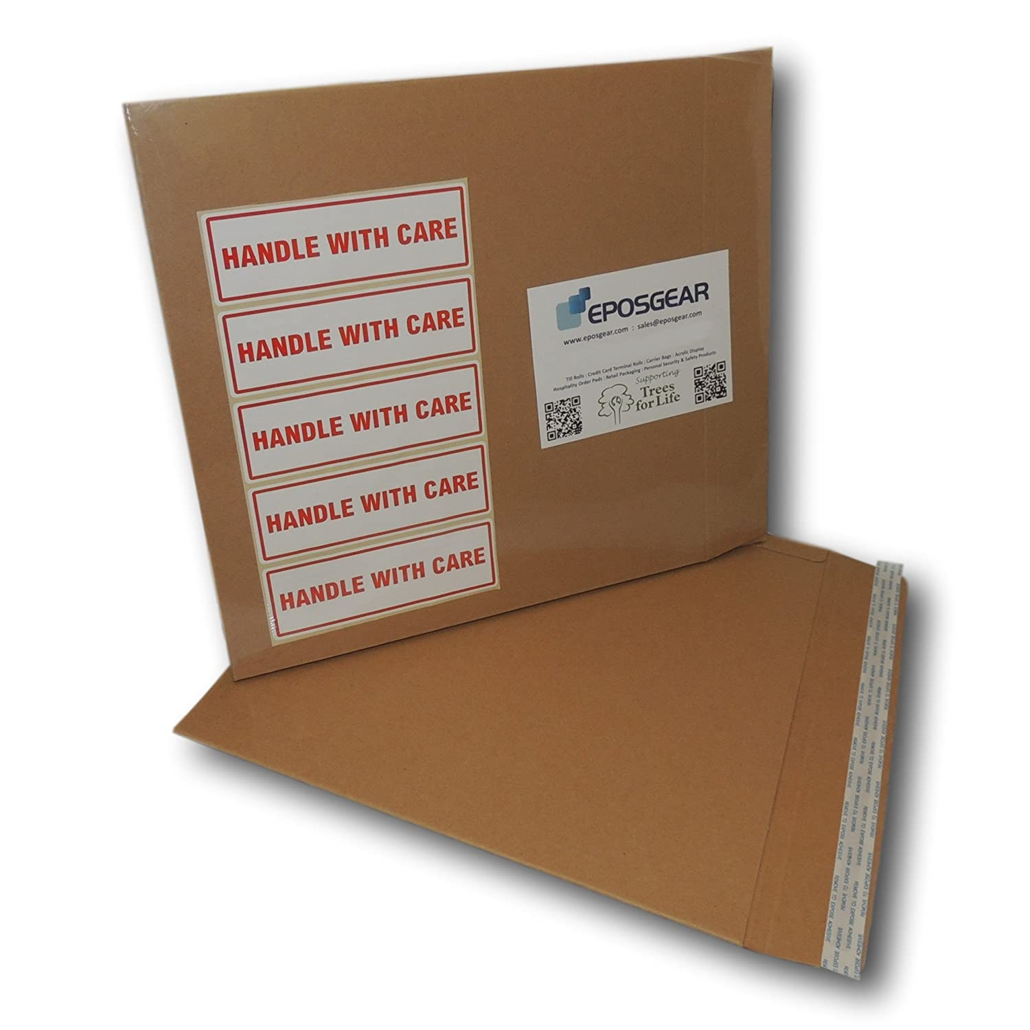 EPOSGEAR 25 Pack 650gsm 12 Record LP Strong Peel and Seal All Board Card Manilla Brown Envelopes Mailers 355mm x 345mm with FREE Handle With Care Labels