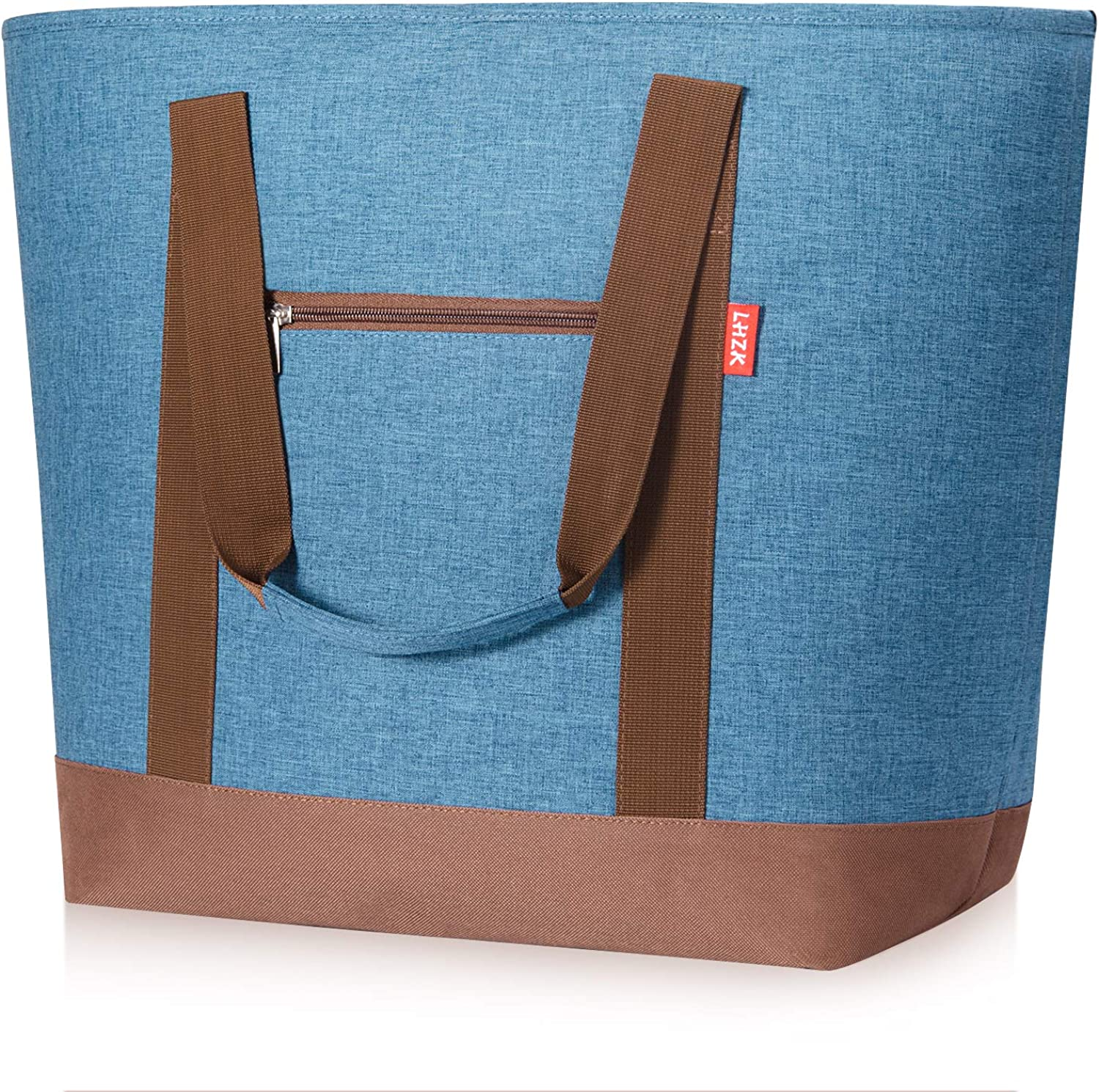 LHZK Jumbo Insulated Cooler Tote Bag with Zipper, Insulated Reusable Grocery Bags for Food Transport Hot or Cold, Premium Quality Thermal Tote Bag, Travel Cooler or Beach Bags (X-Large-50L, Blue)