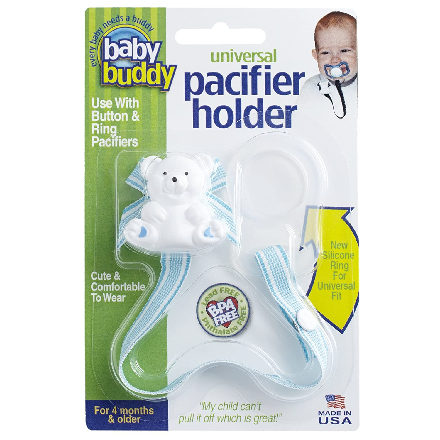 Amazon.com : Baby Buddy Universal Pacifier Holder Clip - Snaps to Paci or Attach with Universal-Fit Silicone Ring - Pacifier Clip for Babies 4+ ...