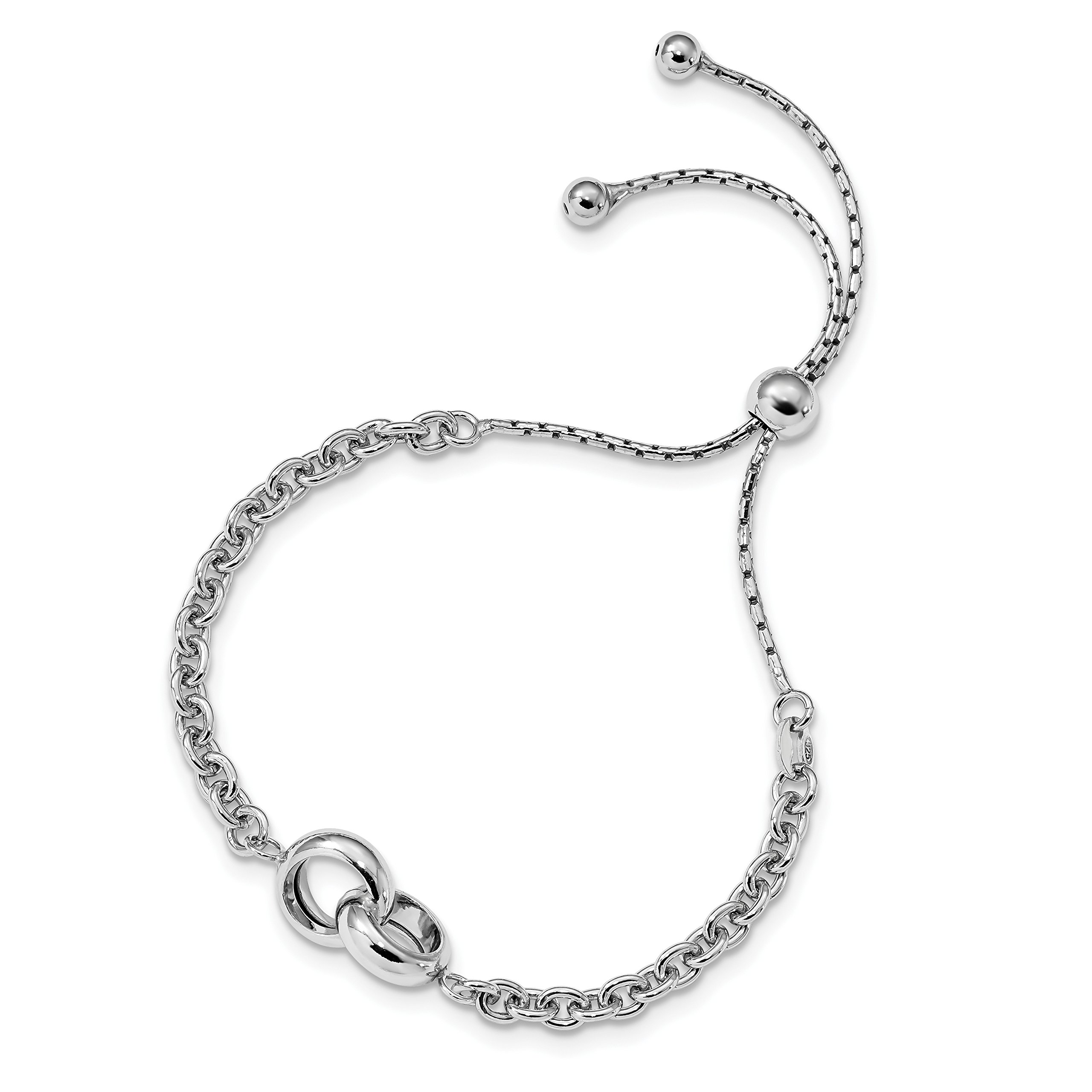 ICE CARATS 925 Sterling Silver Link Adjustable 4 9 Inch Bracelet Stretch Wrap Fine Jewelry Gift Set For Women Heart