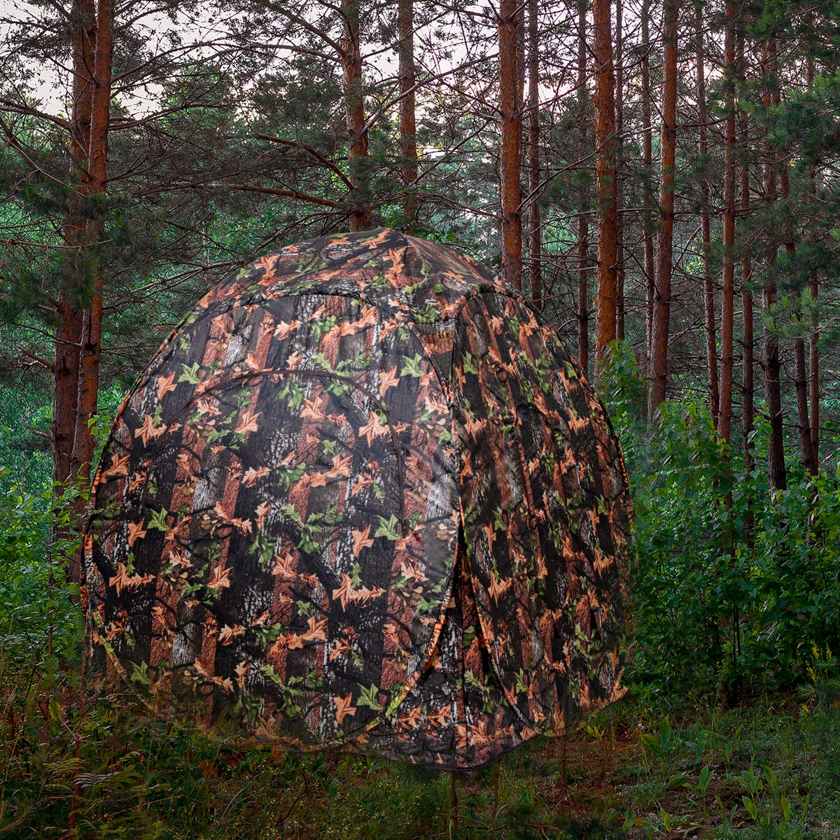 Tangkula Hunting Tent Portable Hunting Blind Pop Up Ground Blind 2-3 People Camo Waterproof with Backpack Hunting Enclosure by Tangkula (Image #3)