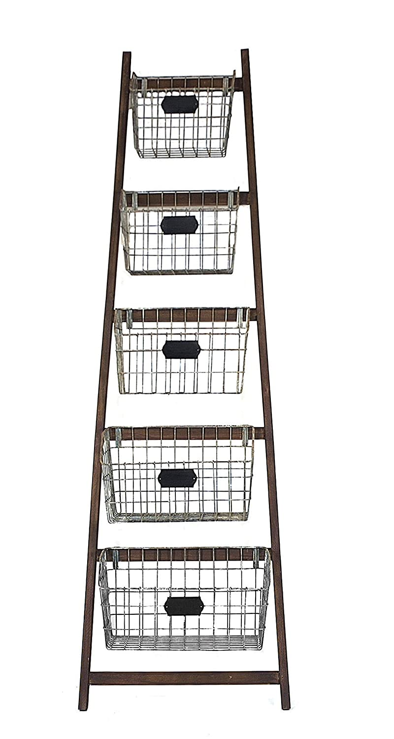 Creative Co-op DA2229MC Wood Ladder with 5 Wire Baskets