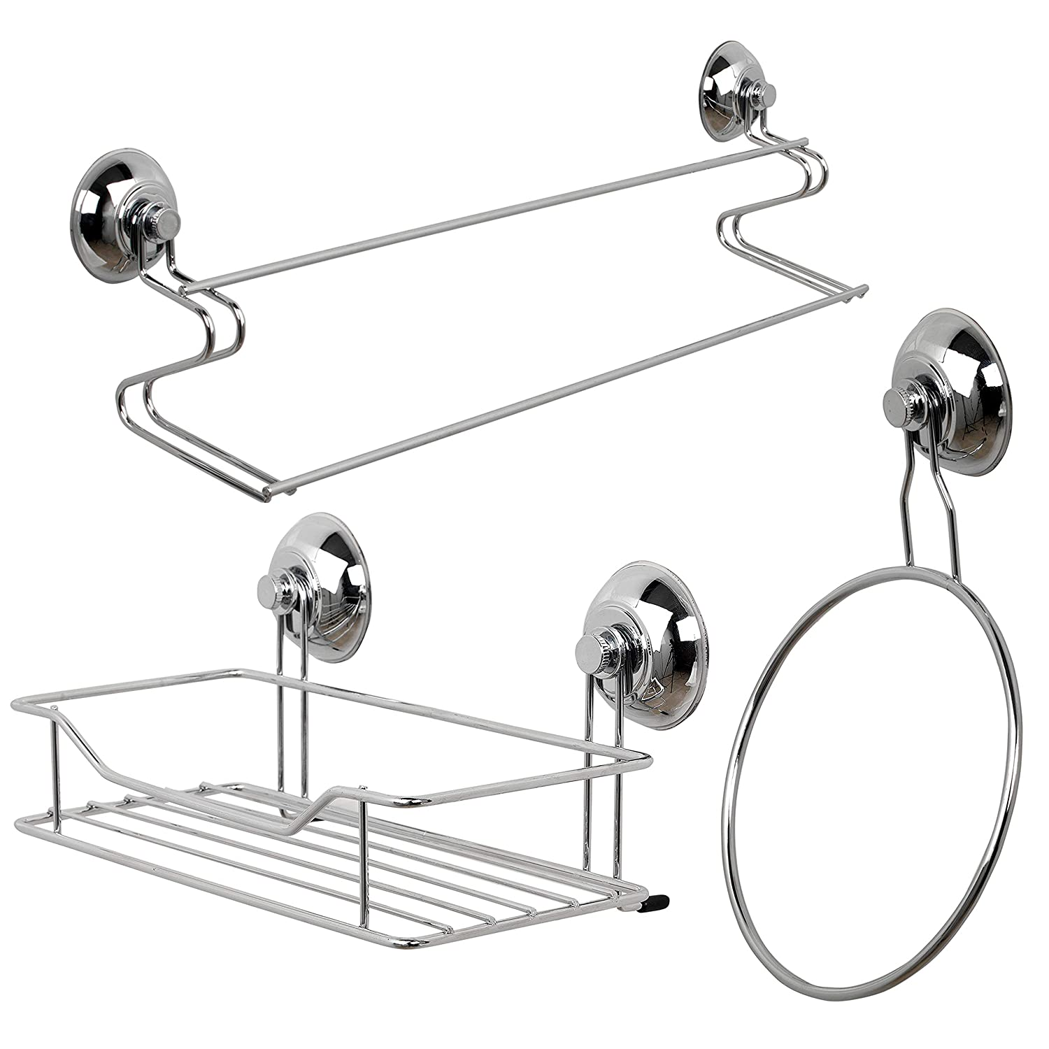 Beldray COMBO-1723 1-Tier & 2-Tier Corner Suction Shower Baskets, Chrome