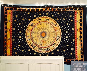 Black Zodiac Tapestry Wall Hanging Horoscope Tapestry Dorm Room Tapestries  Hippie Tapestry Indian Astrology Trippy Celtic Part 60