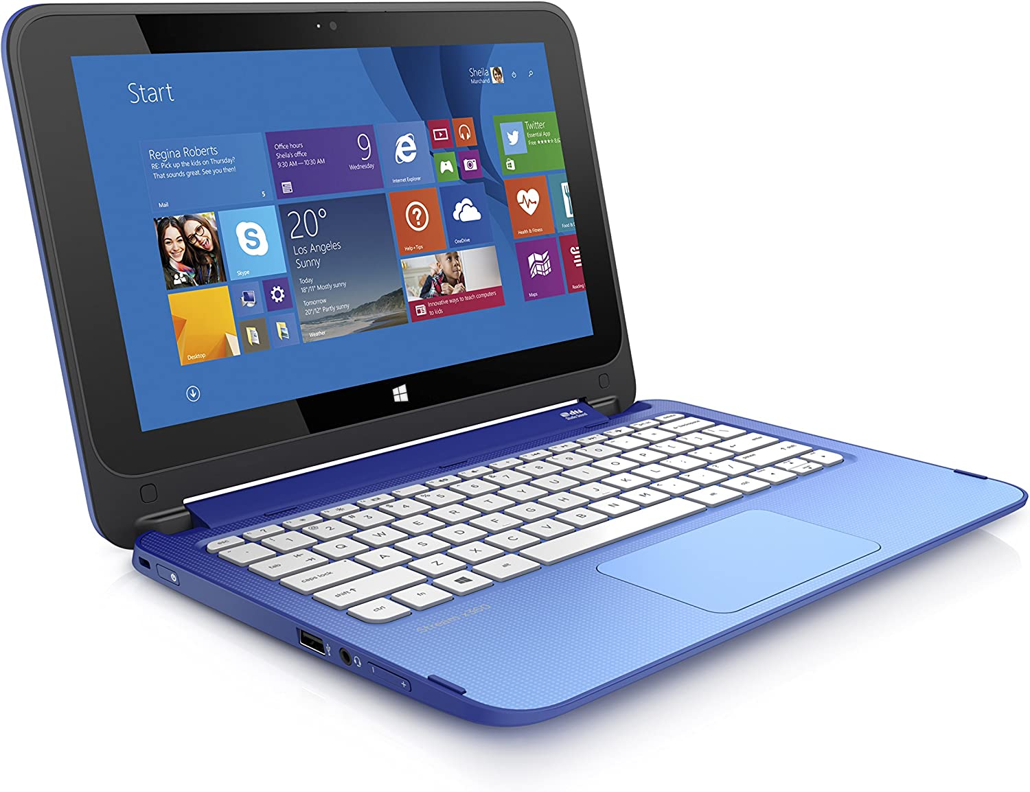(Discontinued) HP Stream 11.6-Inch Convertible Touchscreen Laptop (Intel Celeron, 2 GB, 32 GB SSD, Blue) Includes Office 365 Personal for One Year