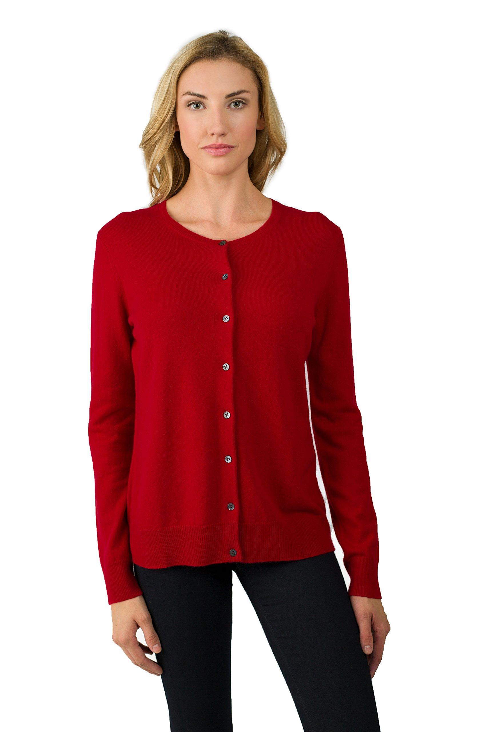 JENNIE LIU Women's 100% Cashmere Button Front Long Sleeve Crewneck Cardigan Sweater (M, Red)
