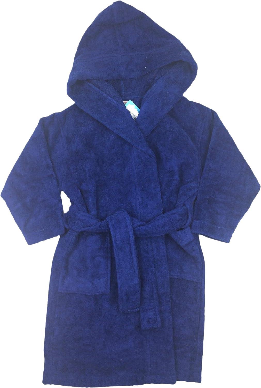 Kiwi Boys Girls Kids Bathrobe Cozy Velour Hooded Terry Robe