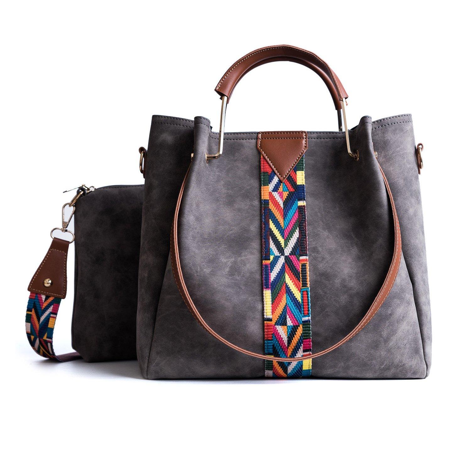 Tibes Femmes sac à main Porte-monnaie en cuir synthétique 2pcs ensemble sac Sac d'épaule Vintage Cartable de travail gris 111shoutibao155-huise