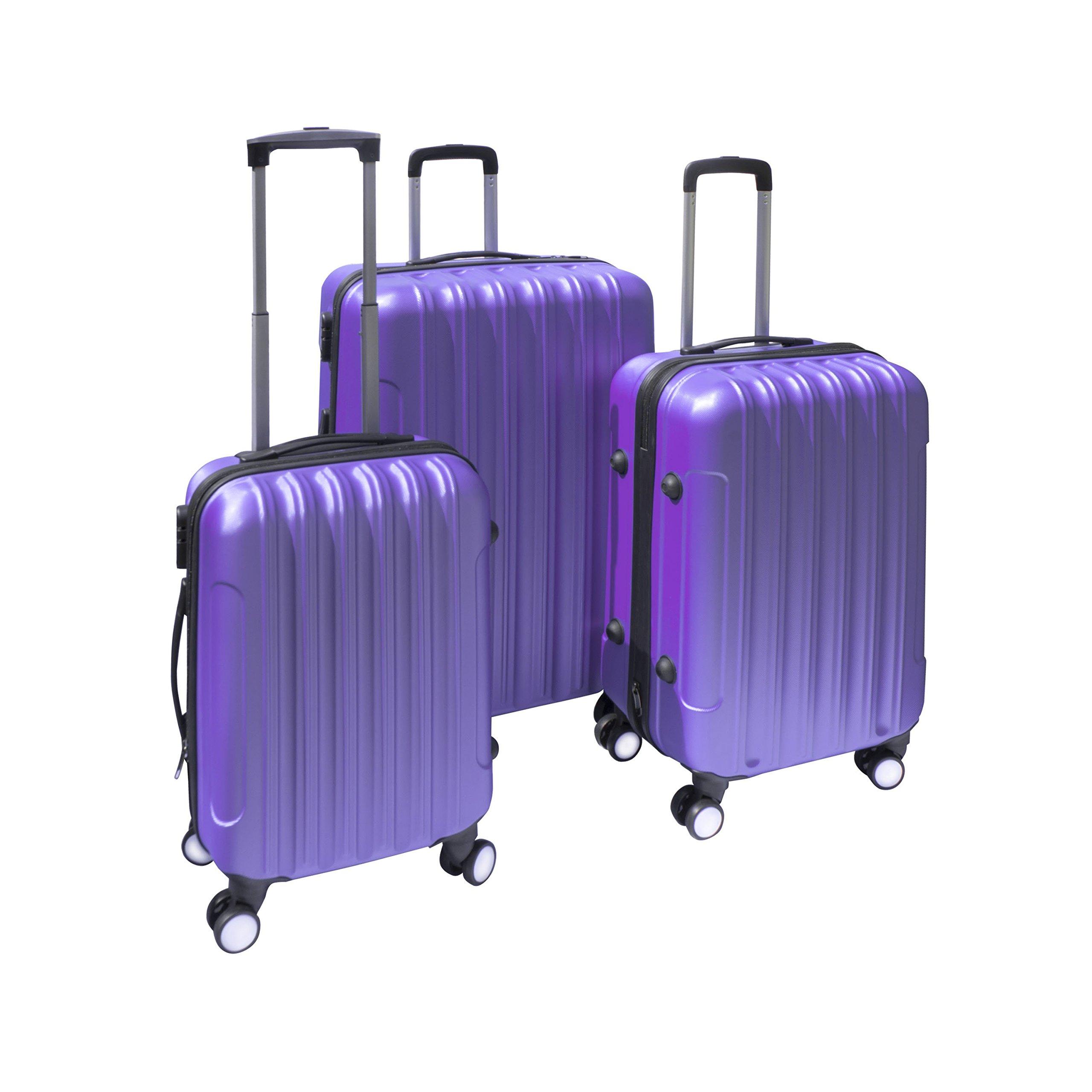 ALEKO 3 Piece Luggage Travel Bag Set ABS Suitcase With Lock, Purple Color