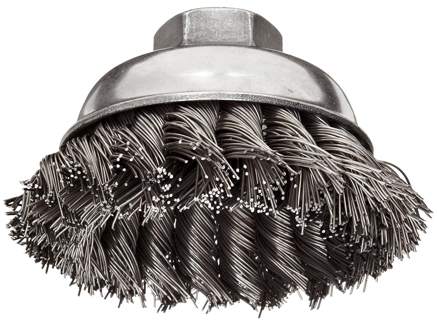 "Weiler Wire Cup Brush, Threaded Hole, Steel, Partial Twist Knotted, Single Row, 3-1/2"" Diameter, 0.023"" Wire Diameter, 5/8""-11 Arbor, 7/8"" Bristle Length, 13000 rpm (Pack of 1)"