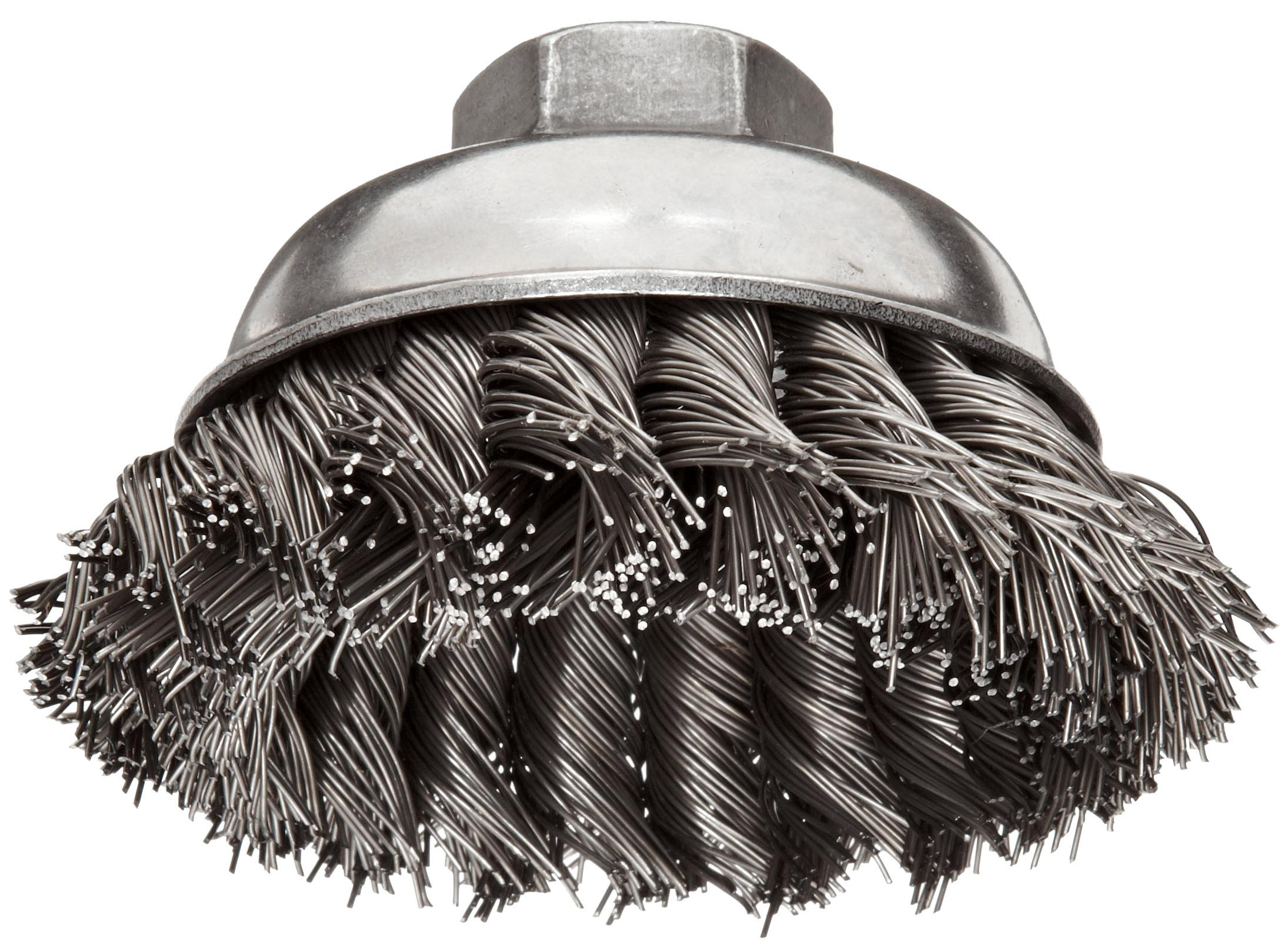 Weiler Wire Cup Brush, Threaded Hole, Steel, Partial Twist Knotted, Single Row, 3-1/2'' Diameter, 0.023'' Wire Diameter, 5/8''-11 Arbor, 7/8'' Bristle Length, 13000 rpm (Pack of 1)