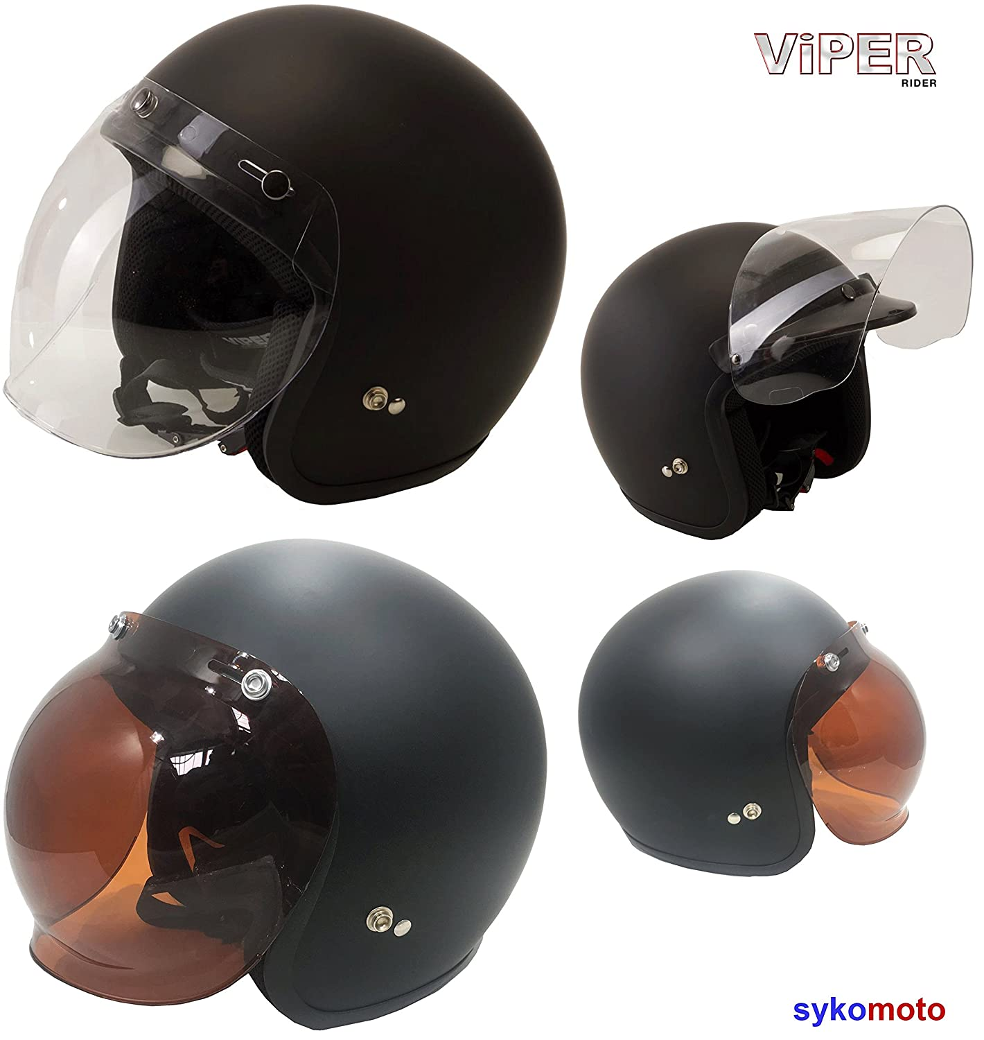 VISOR FOR OPEN FACE CUSTOM CHOPPER HELMET VIPER RS V06, RS 16, RS 05, RS 04 PEAK AMBER CLEAR REPLACEMENT ECE ROAD LEGAL BUBBLE VISOR ONLY (TRANSPARENT/CLEAR) MOTOHART VIPRS04