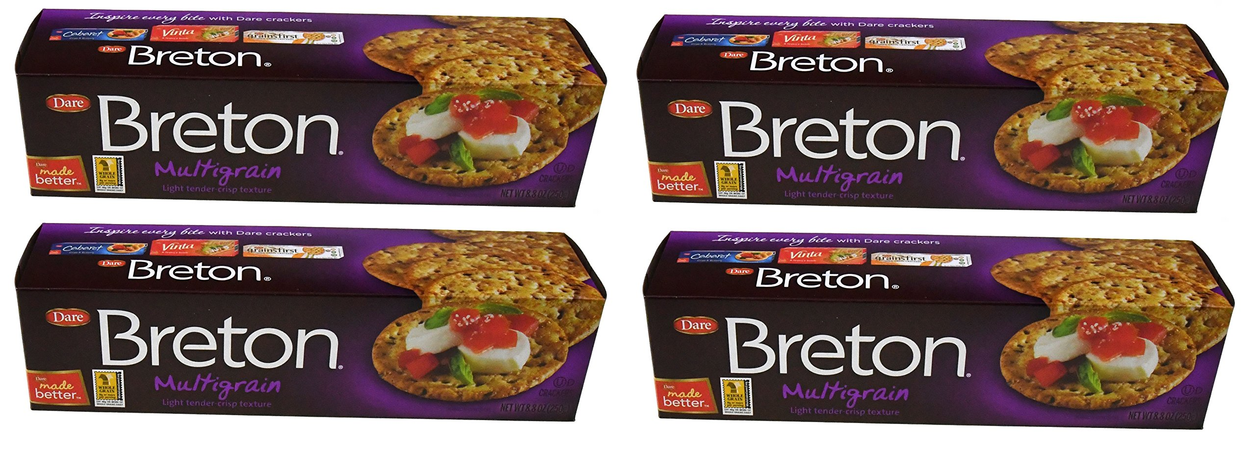 Dare Breton Crackers, Multigrain Party Snacks with no Artificial Flavors and 8 Grams of Whole Grains per Serving 8.8 Ounces (Pack of 4) by Breton