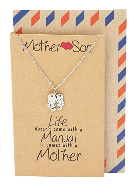 Amazon Quan Jewelry Mother And Son Otter Necklace Gifts For Mom Mothers Day Handmade With Inspirational Greeting Card