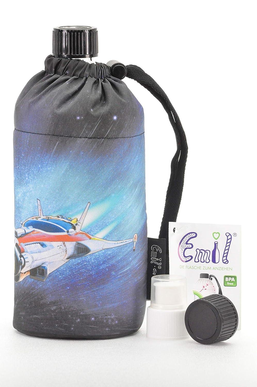 Trinkflaschenset aus 1 Emil die Flasche 0,6l 1 Ersatz-Glasflasche und kompatiblem Deckelset