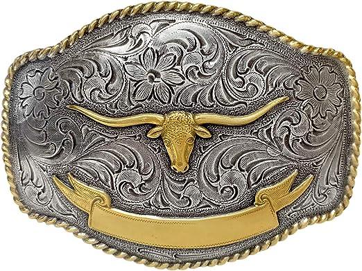 Western Cowboy Longhorn Steer Head Shape Buckle Zinc Alloy Men/'s Belt Buckle