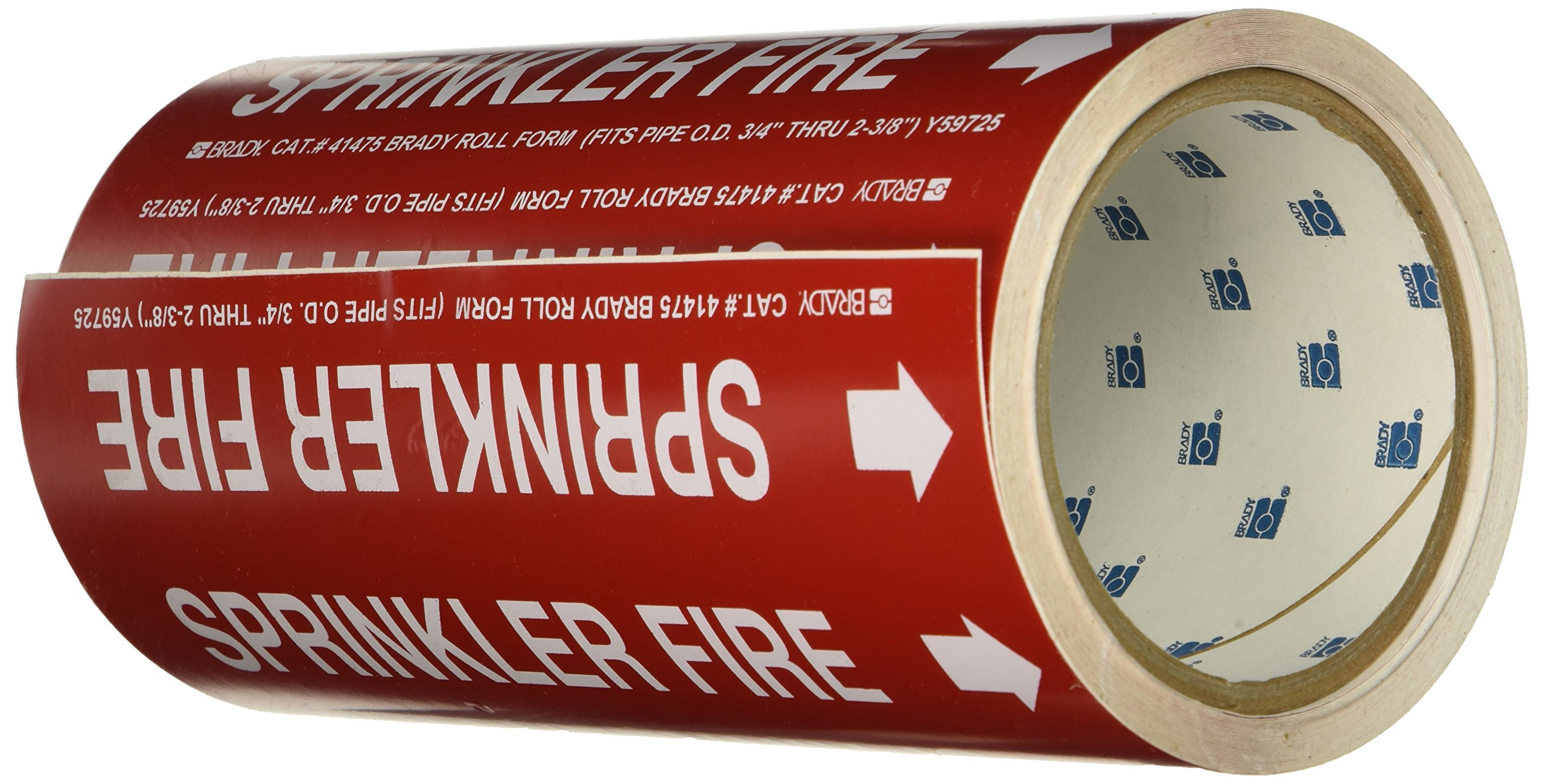 Brady 41475 Roll Form Pipe Markers, B-946, 8'' X 30', White On Red Pressure Sensitive Vinyl, Legend ''Sprinkler Fire''