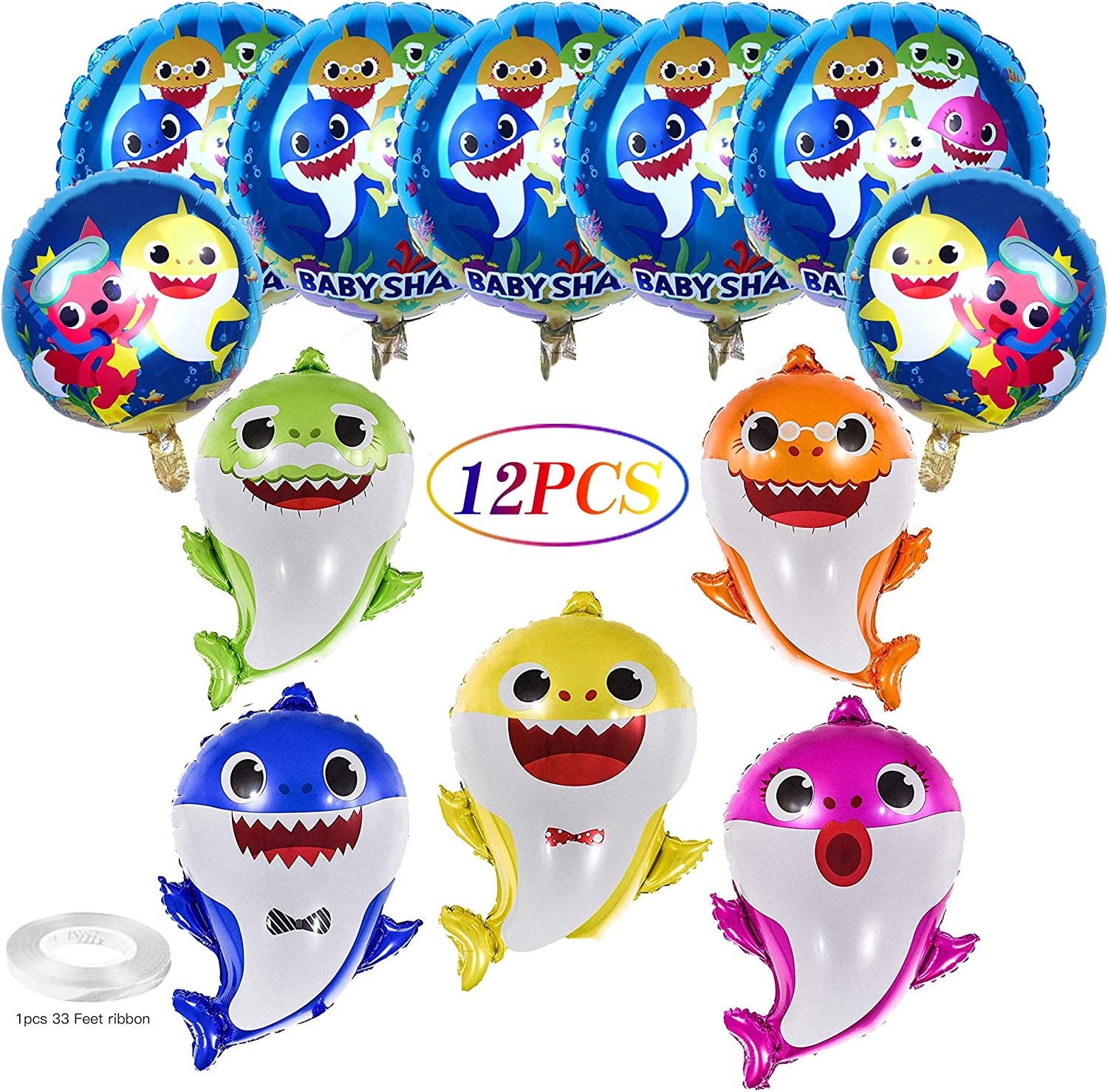 Summerdays 12 Pack babychild Shark Balloons - 26 inch Shark Helium Baloons, 7 Pieces 17 inch Round Balloons Shark Decoration Baloons