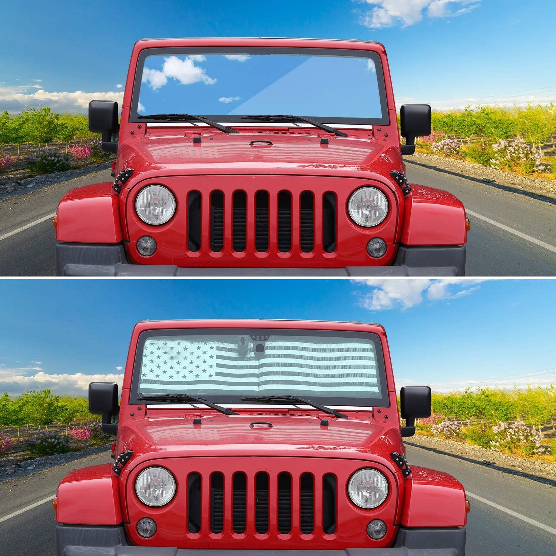 Windshield Sunshade Car Sun Shade Heat Shield JK Custom-fit Sunshade Sun Visor Mat for 1997-2017 Jeep Wrangler Rubicon Sahara TJ JK JKU 2//4 Doors USA Flag